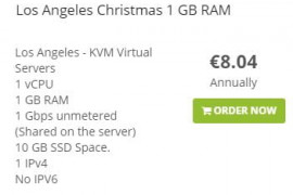 圣诞节Cloudflexy (Dedicenter)优惠年付8.99刀起1核1GB内存