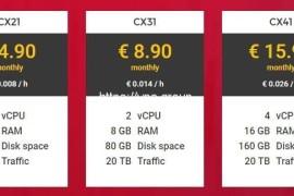 Hetzner云服务器 1核2GB 20TB流量 月付2.49欧起